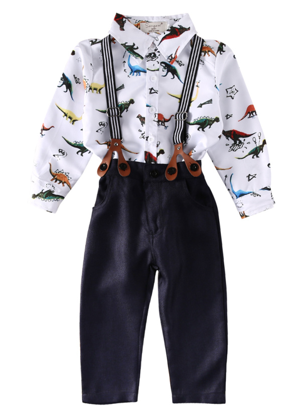 Gentleman Kids Baby Boys Clothes Sets 2017 Hot Sale Long Sleeve Printed Shirt Tops Braces Trousers