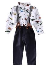 Gentleman Enfants Bébé Garçons Vêtements Ensembles 2017 Vente Chaude À Manches Longues Imprimé Chemise Tops + Bretelles + Pantalon Pantalon 2 Pcs Bébé Outfit Set