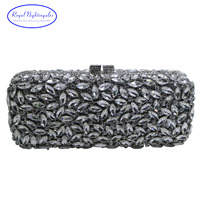 Luxury AB Crystals And White Crystal Evening Bags And Clutch Purses With Crystal Rhinestone For Womens
