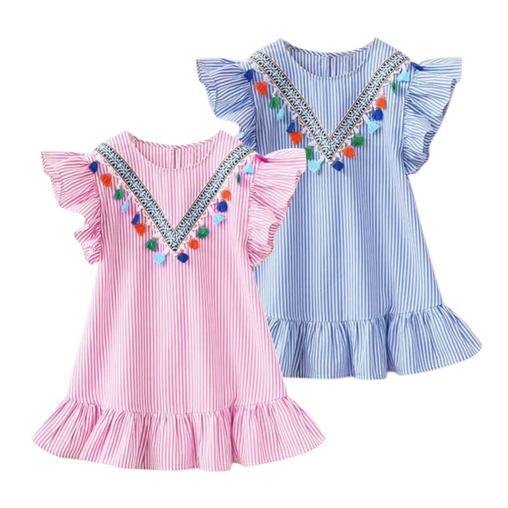 Summer Girls Tassel Flying Sleeve Dresses Stripe Cute Kids Party  For  Girls Princess Dress Tops Clothes(China)