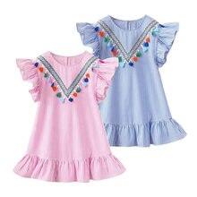 Robes d'été à manches volantes, avec rayures mignons, pour enfants, fête pour filles, princesse, hauts