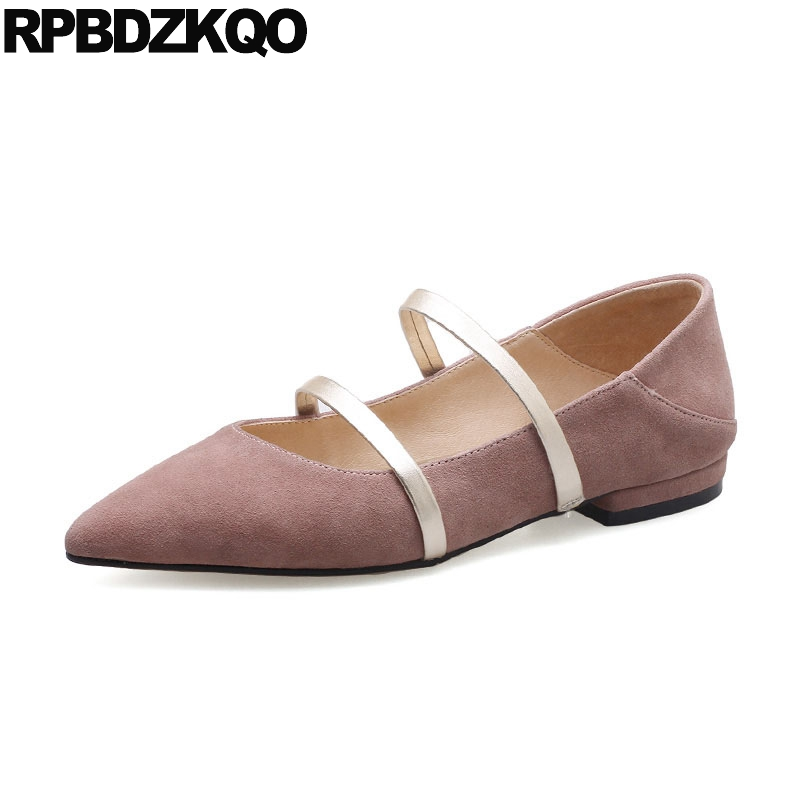 Flats Slippers Suede Pink Sandals Mary Jane Genuine Leather Pointy Summer Slides Designer Shoes Women Luxury 2018 Mules Gray flats slippers suede pink sandals mary jane genuine leather pointy summer slides designer shoes women luxury 2018 mules gray