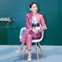 2019 Для женщин 2 комплекты из двух предметов розовый однотонный блейзер + штаны с завышенной талией Офисные женские туфли жакет с разрезом бр