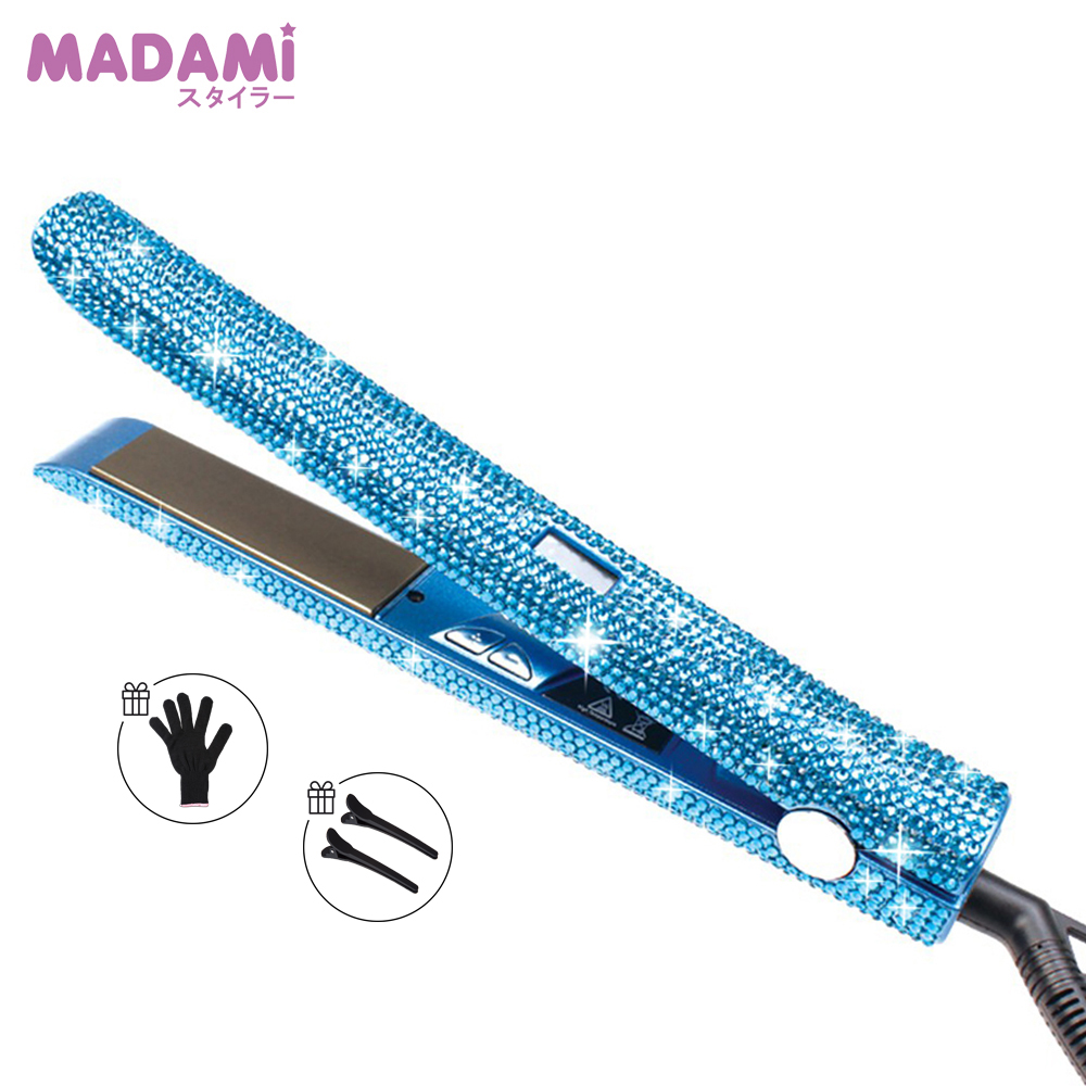 Bling Blue Rhinestones Dual Voltage Hair Straightener Fast MCH Heating Titan Plate 2 In1 Flat Iron Curling And Straightening