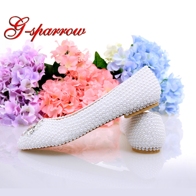 8726be29b2 US $55.88 19% OFF|White Ivory Pearl Flat Heels Wedding Shoes Comfortable  Bridesmaid Shoes Bride Formal Dress Flats Party Prom Dancing Shoes-in  Women's ...