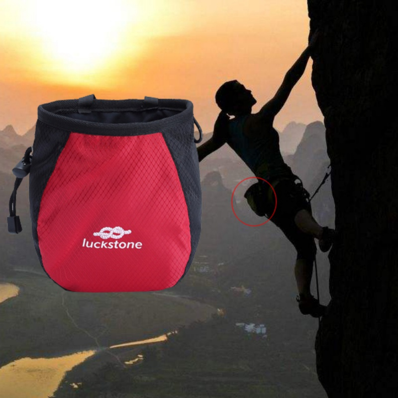 Outdoor Chalk Bag Storage Pouch For Rock Climbing Gym With Drawstring And Adjustable Waist Belt