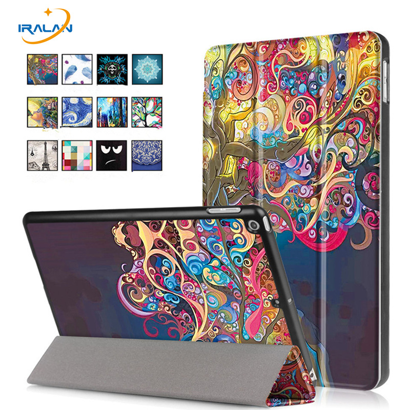 Ultra Slim print Pattern PU Leather Case For Apple New iPad 9.7 2017 A1822 Tablet smart Flip Stand Cover Fundas+screen+stylus