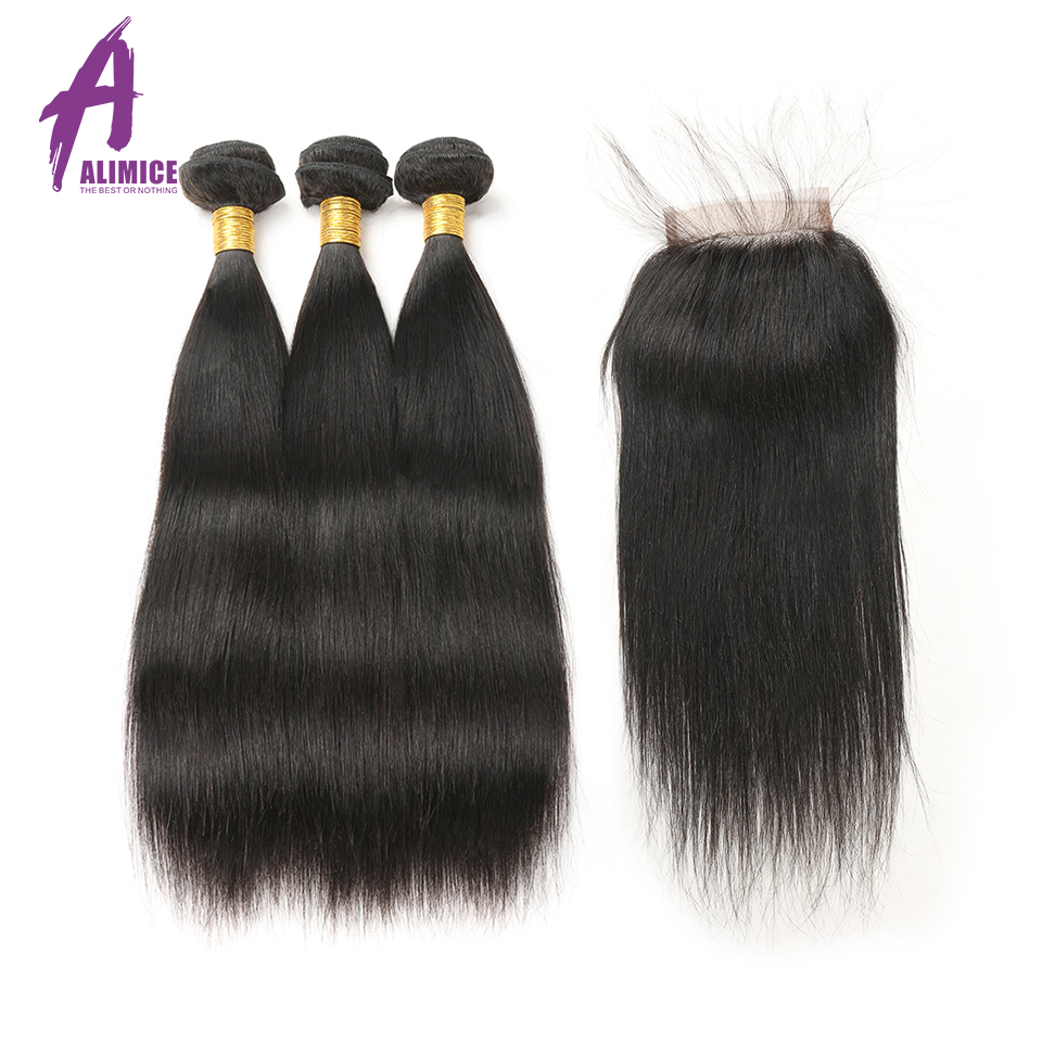 Straight Hair Bundles With Closure 3 Bundle Malaysian Hair Free Part Lace Non Remy 4 Pcs Human Hair Bundles with Closure