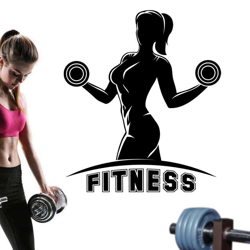 Huge Home Gym With Red Walls Home Gym Ideas: Fitness Dumbbells Name Sticker Girl Gym Crossfit Decal