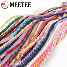 Meetee 10Meters 3mm Polyester Braided 3 Strand Twisted Rope Cords Thread DIY Jewellry Cushion Pillow Bag Decor Accessories CD006