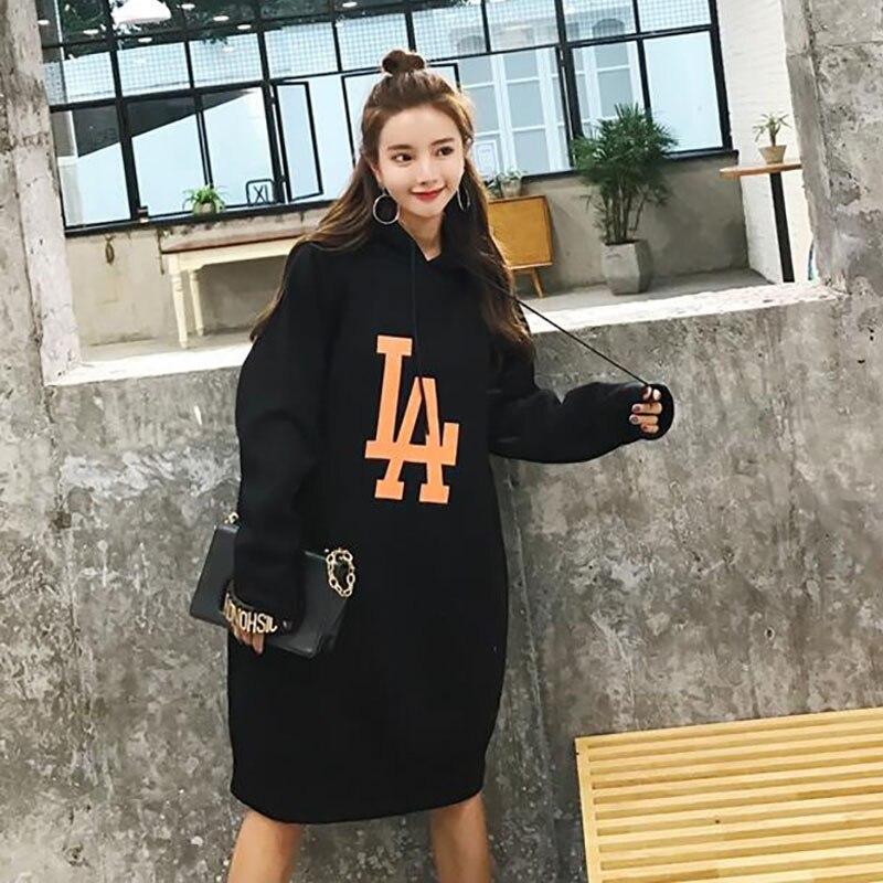 ALABIFU Long Spring Autumn Dress 2019 Women Hoodies Sweatshirts Dress Casual Print Floral Plus Size harajuku Jacket Coat BTS 5XL