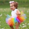 Caramelo dulce Del Arco Iris Tutú del Bebé Brillante Fotografía Traje Prop Primer Cumpleaños Regalo de Halloween Tutus Falda Recién Nacido TS062