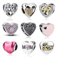 Original 925 Sterling Silver MOTHER HEART Charms Fit Pandora Bracelet Jewelry Accessories With Pink Heart Shaped