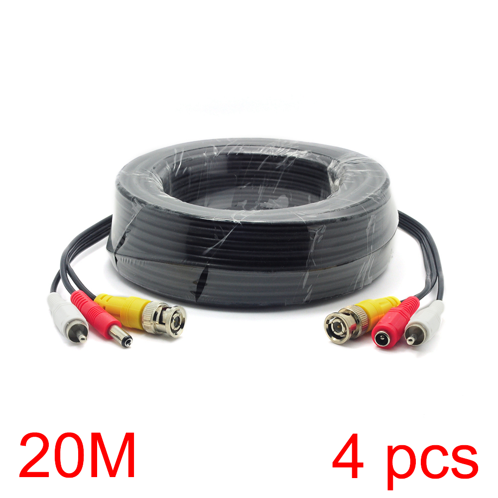 4x 20M/65FT BNC RCA DC Connector Video Audio Power Wire Cable For CCTV Camera 1pcs x 5m 2 in 1 audio video power cable ccd security cctv surveillance camera wire cord bnc rca dc connector new arrival