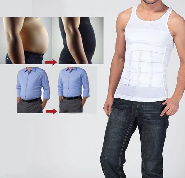Men's sexy Slimming Body Shaper Belly Fatty thermal Underwear men Vest Shirt Corset Compression White