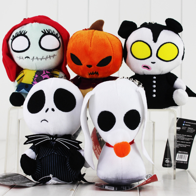 NEW! 14cm The Nightmare Before Christmas Plush Toys Pendant Keychains Jack Skellington Soft Stuffed Pendant Christmas Gift