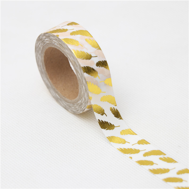 15mm*10m Creative Golden Feathers Decorative Washi Tape DIY Scrapbooking Masking Tape School Office Supply Escolar Papelaria