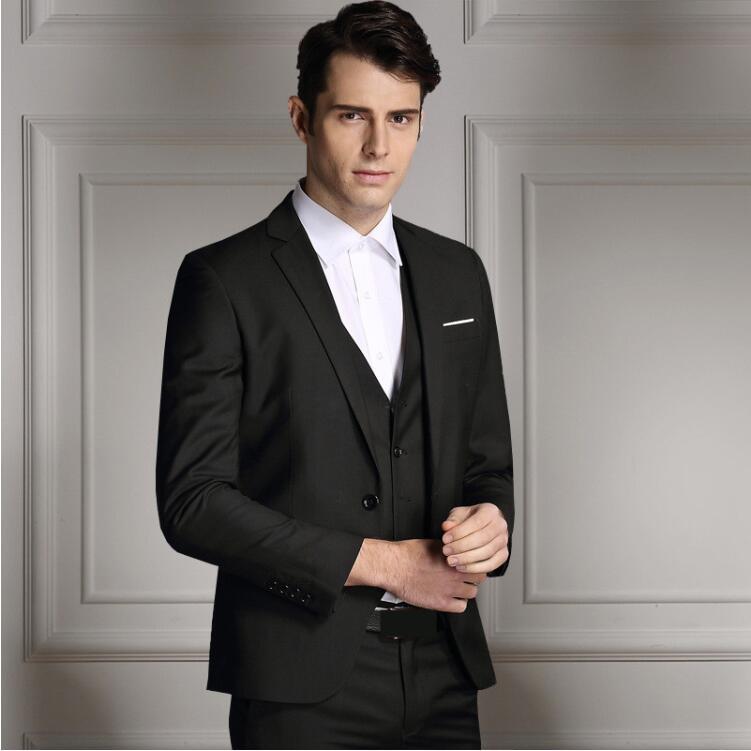 Rand moda masculina três peças conjunto de negócios casual fino ajuste ternos preto cinza azul real do noivo ternos de casamento para homem smoking - 5