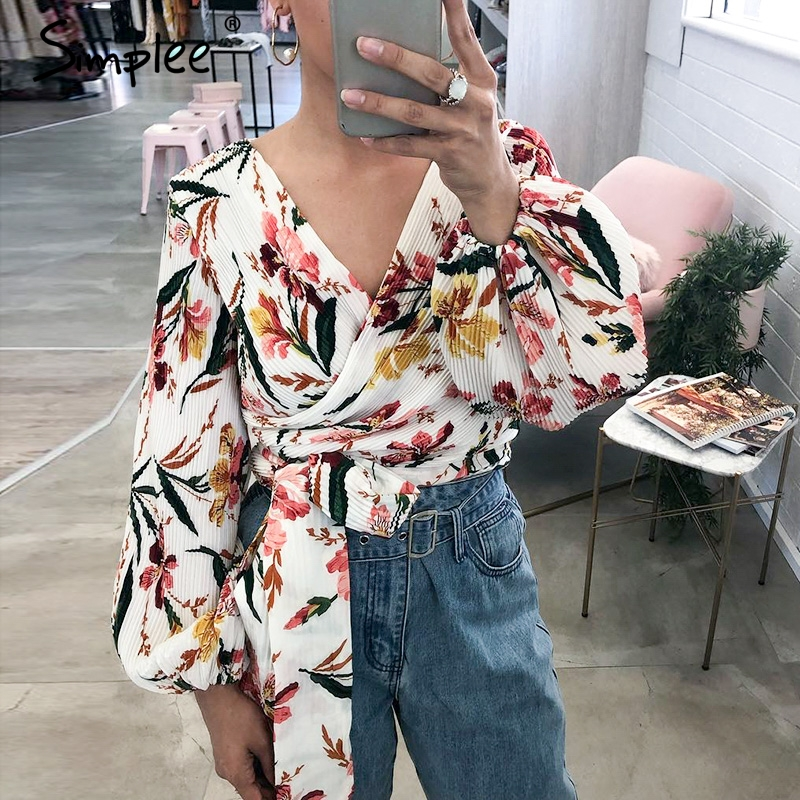 Simplee Sexy v-neck women   blouse     shirt   Elegant sashes lantern sleeve female top   shirt   Bohemian floral print ladies tops