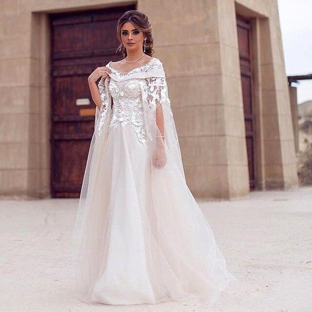Dubai Arabic Style Wedding Dress with Detachable Coat Wrap Crystal ...