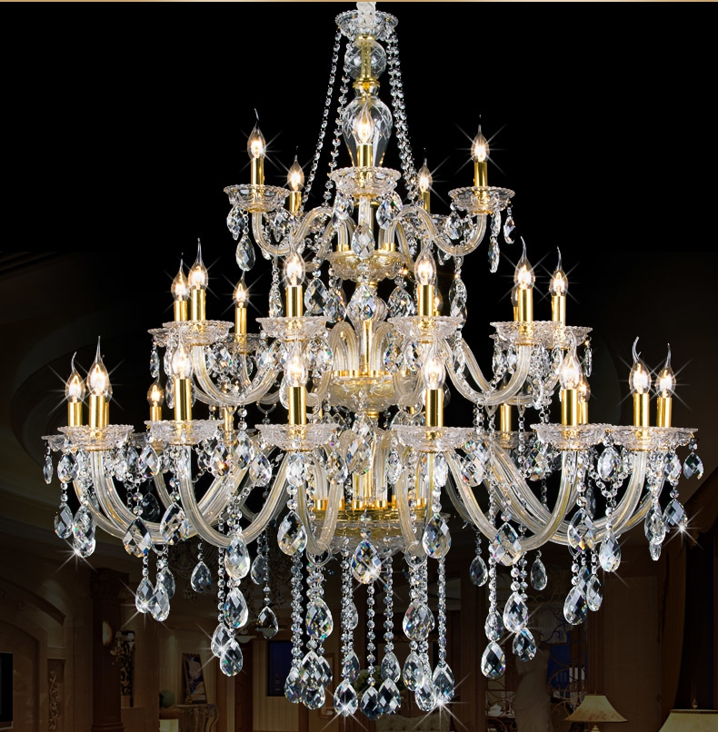 Luxury villas K9 Crystal Chandelier Light Fixture Large Foyer stairs penthouse hotel project Modern Crystal Chandelier lamp