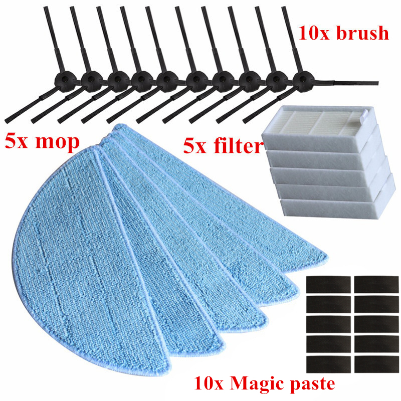 5* HEPA Filter + 10* Side Brush + 5* Mop Cloth +10* Magic paste for ilife v5s pro V5 PRO v5s v5 x5 v50 V3 Robotic Vacuum Cleaner 1x main brush 6x side brush 2x cleaning mop cloth 2x hepa filter kit for chuwi ilife v7s v7s pro robotic vacuum cleaner parts