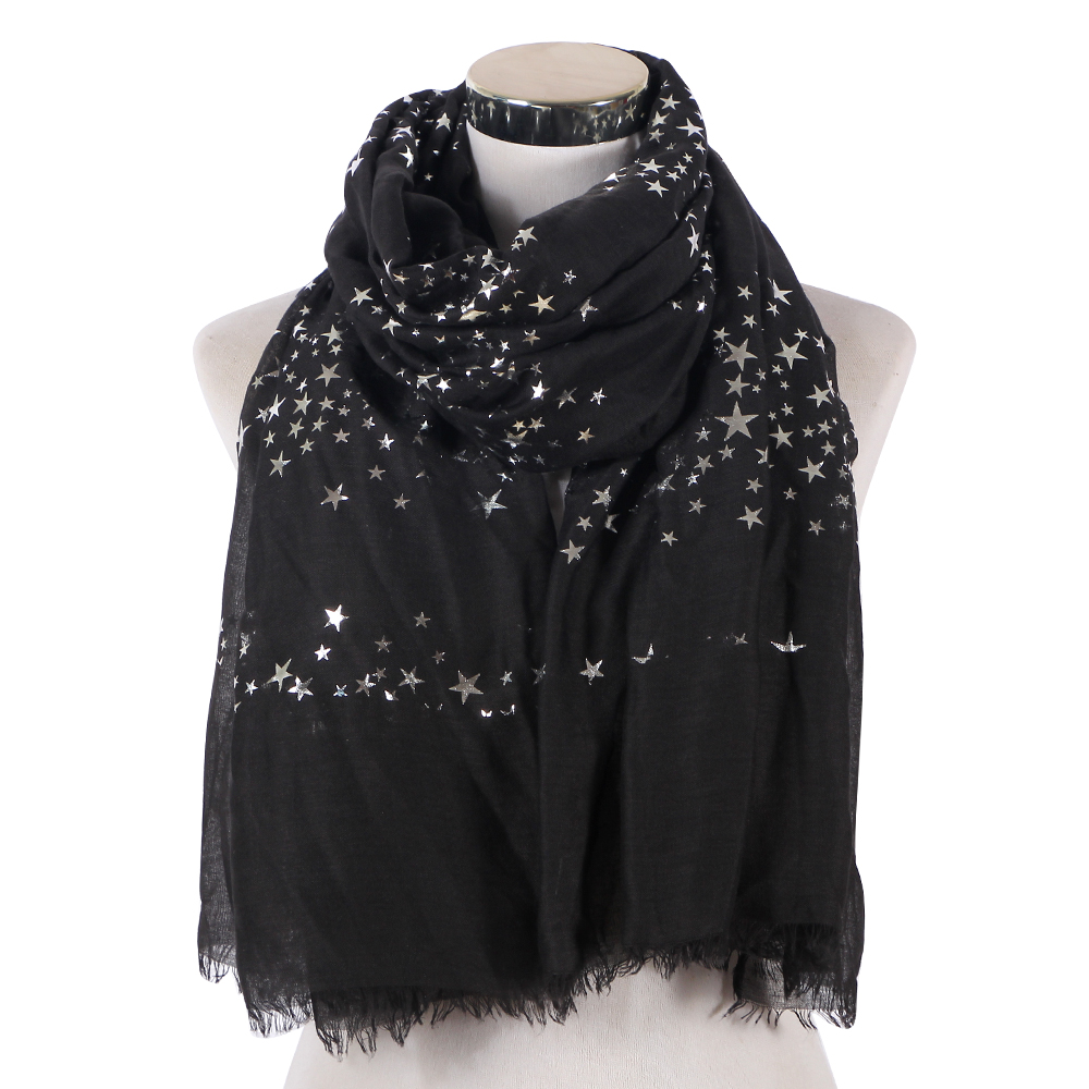 Good Quality Black Navy Star Print Foil Silver Long Muslim Scarfs Shawl For Church Women Female Head   Scarf     Wrap