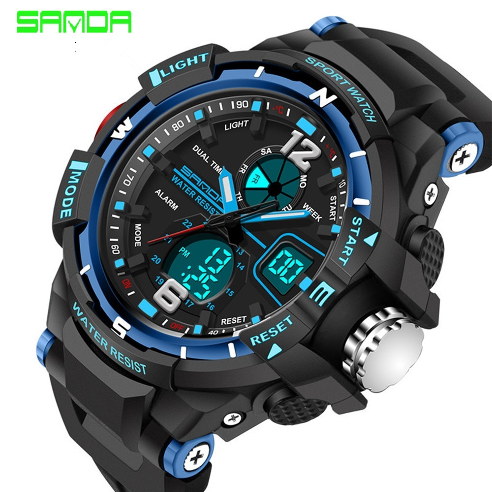New fashion SANDA brand children watch sports watch LED digital quartz watch boy girl student multi-function watch