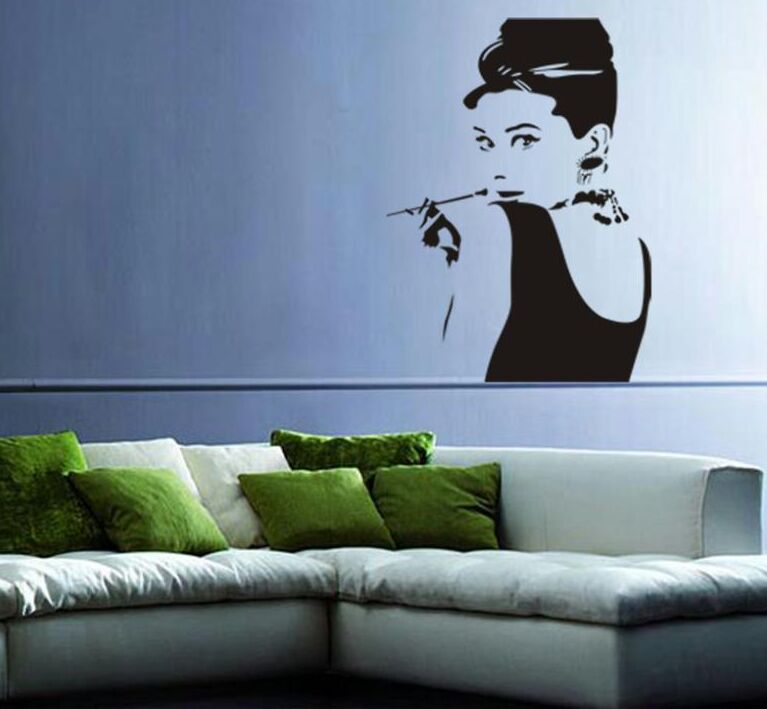 Aliexpress.com : Buy Hot Sale Audrey Hepburn Wall Decal Wall Mural Bedroom  Home Decorations DIY Newest Wall Art Living Room Decor Free Shipping Y 319  From ... Part 60