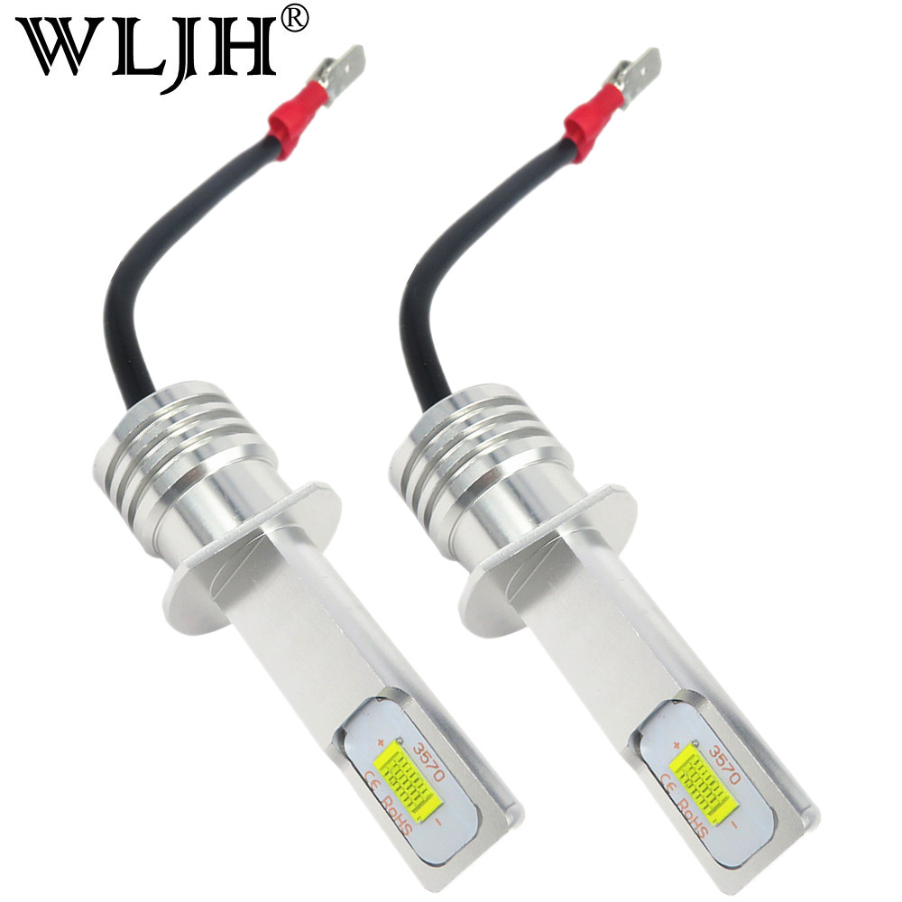 WLJH 2pcs Canbus H1 LED Bulb CSP Chip 72W 1000LM Auto Car Fog Light Lamp Driving DRL Daytime Running Light 6000K White 12V 24V 3w 100lm 6000k white 3 led car daytime running light lamp black dc 12v pair