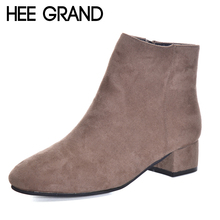 HEE GRAND Women's Shoes Ankle Boots Fashion High Heel Boots Zipper with Flock Autumn Shoes for Woman  XWX5950