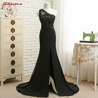 Black Long Lace Mermaid Evening Dresses Party Women One Shoulder Beaded Formal Evening Gowns Dresses Wear