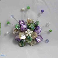 Unique Pearls jewellery Store,Handmade Shell Flower Brooches ,Multicolor Real Shell White Freshwater Pearls Crystal Beads Mixes