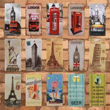 Get more info on the Plaques Tin Sign Decoration In Beer Bar Garage Pub Cafe Wall Pictures Metal Plate London Paris Vintage Home Decor 15X30CM C23