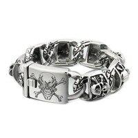 USA Located Huge 316L Stainless Steel Deep Laser Engraved Pirate Skull Mens Boys Biker Rock Punk Bracelet 5T102 4PX