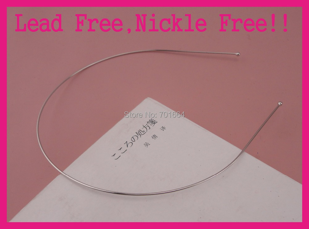 10PCS Silver Finish 1.2mm Single Metal Wire hairbands plain Headband with 3mm ball ends Lead Free Nickle Free girls hair hoops