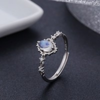 Vintage Style 925 Sterling Silver Round Natural Moonstone Rings For Women Wedding Engagement Jewelry Finger Anillos Bague Aneis
