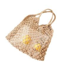 Nets bag shopping bag beach hollow out handbag women Weave shouder bag casual large big fold over bag white brown drop shipping цены онлайн
