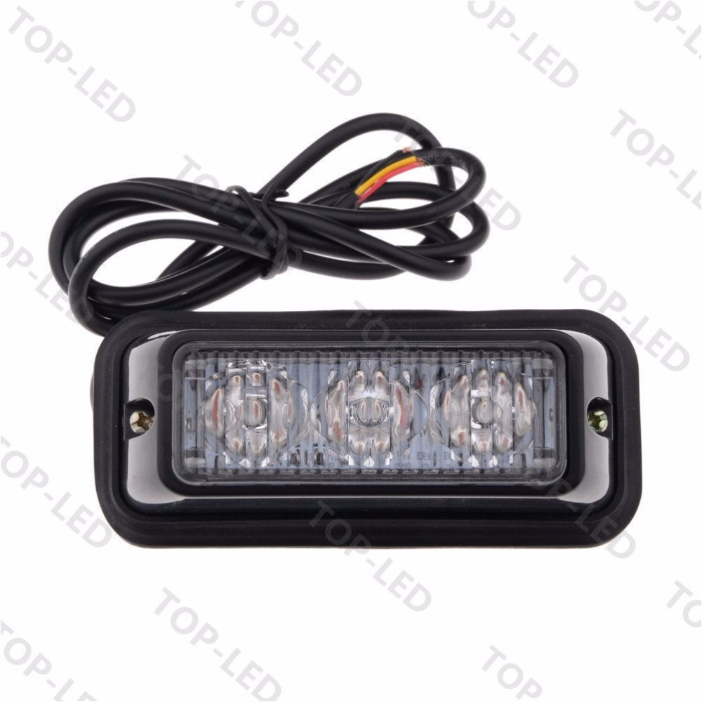 CYAN SOIL BAY 1pc 3 LED Car Truck Emergency Hazard Warning Beacon Strobe Light Bar Grill Blue