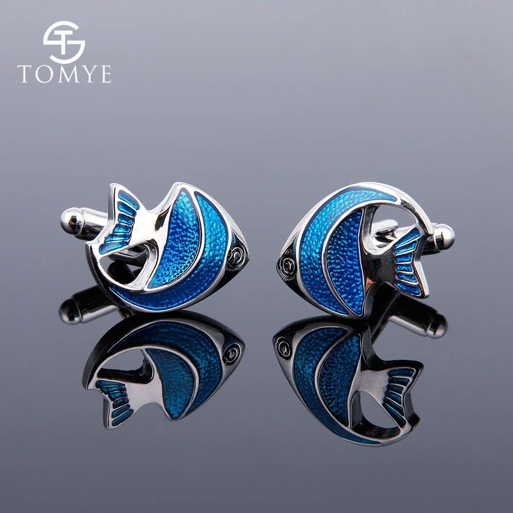 TOMYE High-Quality French Shirt Casual Fashion Cufflinks For Men Women Stylish Fish Pattern All Match Chic Cuff Links XK18S330