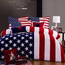 4pcs bedding set kind queen stars and stripes print American flag cotton duvet/comforter cover sheet bedclothes bed linen