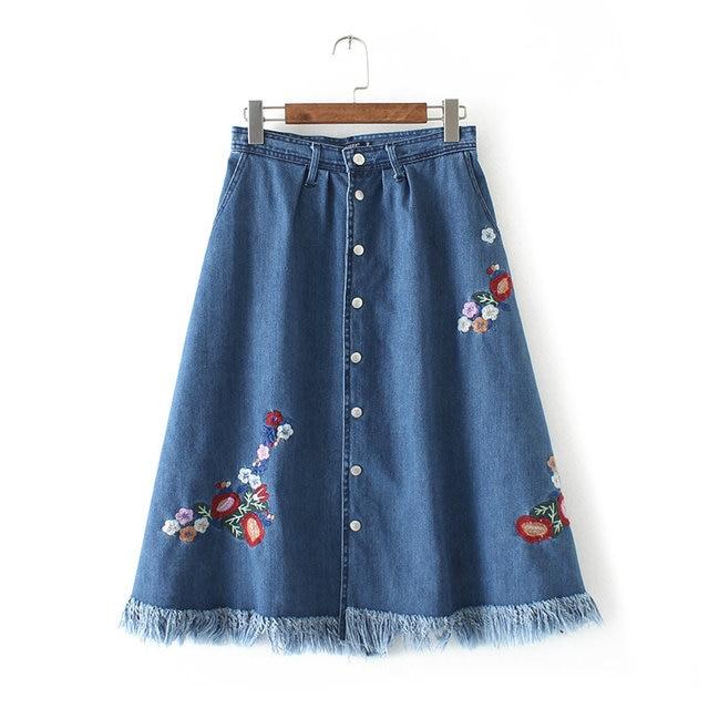 7da911b2d05c1e Summer Women Denim Midi Skirt High Waist Floral Embroidery Female Casual  Vintage Skirts With Buttons EC1732-0415