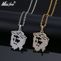 MISSFOX Hiphop Hollow Jesus Headphoto Long Necklace HQ Cz Stones Iced Out Locket Pendant With Free 24K Gold Rope Chain