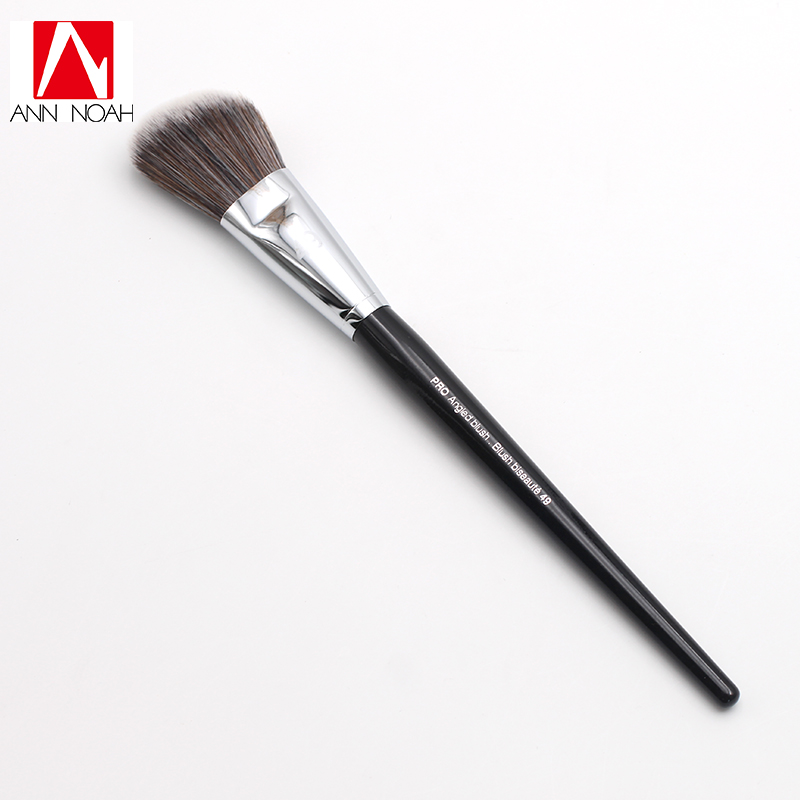 Professional Black Long Wood Handle Dense Wavy Synthetic Hair 49 Pro Angled Sweep Blush Brush