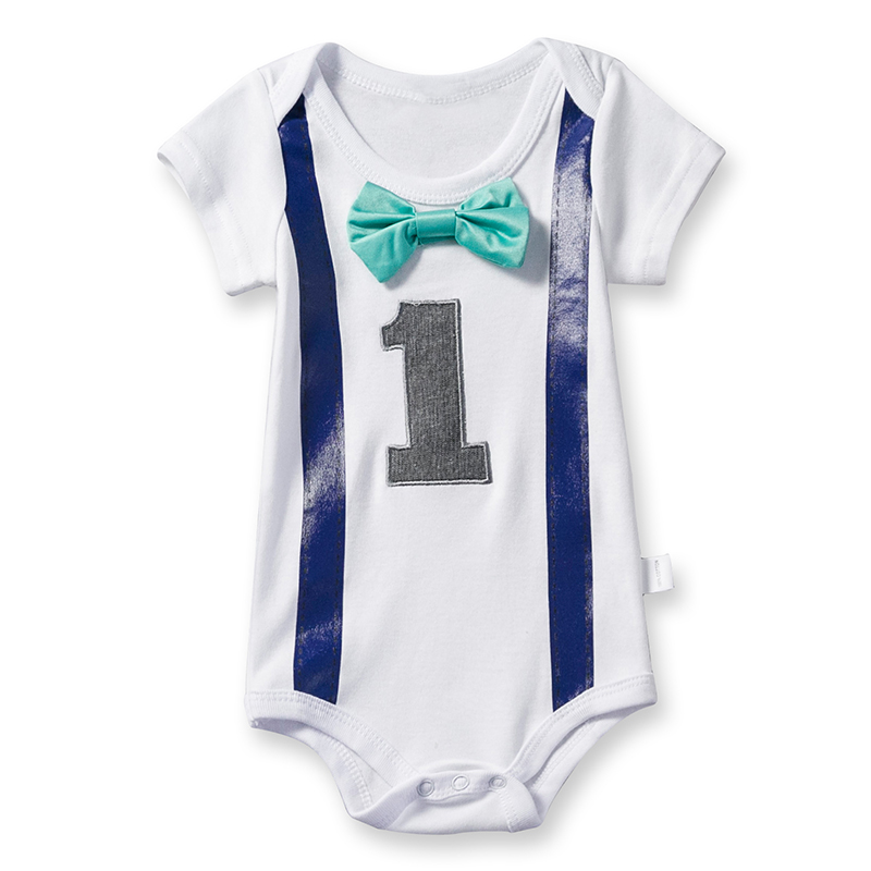 2018 Summer Rompers Baby Clothes Boy Cotton Bow Gentleman Newborn Boys Clothes 1st Birthday Party Outfits Toddler Jumpsuit White