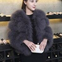Women Ostrich Fur Coat Women's 2018 Winter Clothing Short Furry Thickened Jacket