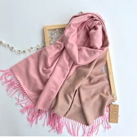 Luxury Brand Double Side Solid Imitation Cashmere Scarf For Women Winter Warm Stoles Pashmina Soft Tassel