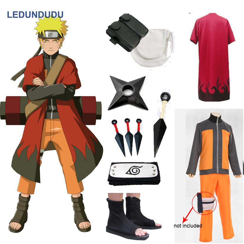 Anime Naruto Cosplay Costumes Shippuden Uzumaki Naruto 2nd Outfit Uniforms Set with Cloaks Props Halloween Party