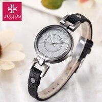 Lady Women's Watch Japan Quartz Hours Retro Fashion Antique Style Dress Bracelet Band Soft Leather Girl Birthday Gift Julius Box