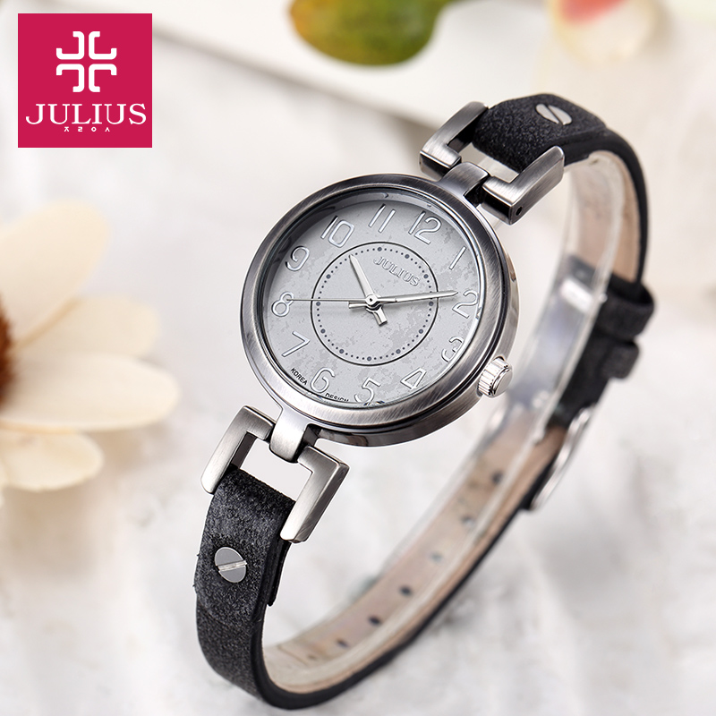 Lady Women's Watch Japan Quartz Hours Retro Fashion Antique Style Dress Bracelet Band Soft Leather Girl Birthday Gift Julius